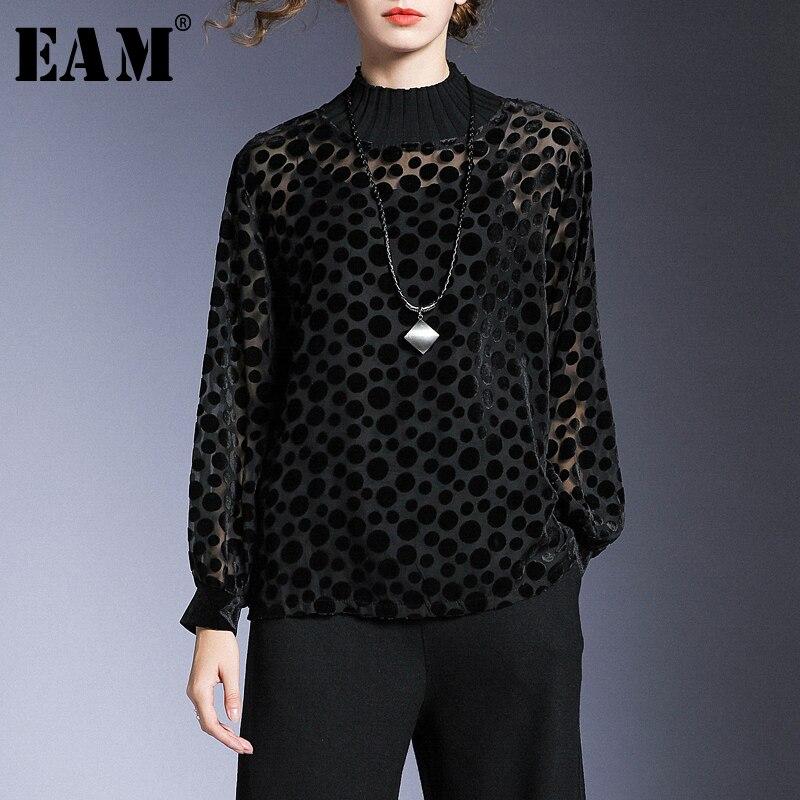 [EAM] femmes noir Dot Perspctive flocage grande taille T-shirt nouveau col rond manches longues mode marée printemps automne 2020 1N184