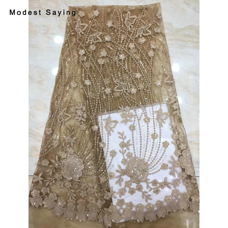 2 Yards Chocolate African Sequined Lace Fabrics For Evening Dress 2019 Embroidered Mesh Nigerian Party Prom Tulle Lace Material