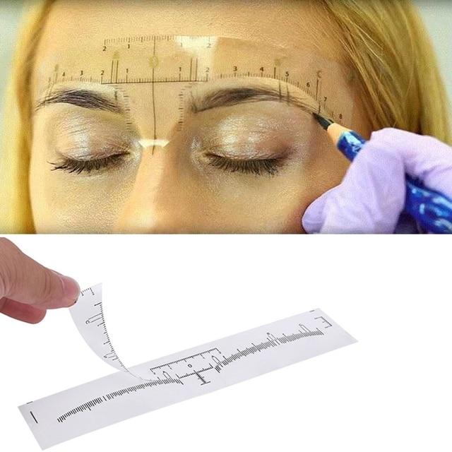 100pcs Reusable Semi Permanent Eyebrow Stencil Makeup Microblading Measure Tattoo Ruler Tools,Eyebrow Stencil