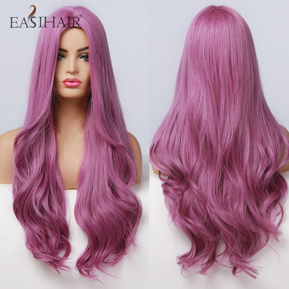 EASIHAIR-pelucas de pelo sintético largo Morado para mujer, pelucas de Cosplay ondulado, cabello Natural resistente al calor