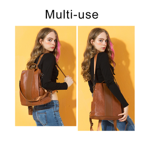 Image 2 - HERALD FASHION Quality Leather Anti thief Women Backpack Large Capacity Hair Ball School Bag for Teenager girls Male Travel Bags