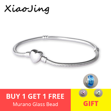 Aliexpress Classic 925 Silver charms beads 22cm Chain original Bracelets & Necklaces love heart Jewelry snake chain Women Gifts стоимость