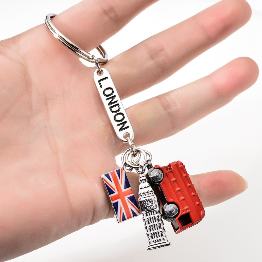 Vicney London Fashion Key Chain Holder London Big Ben And Red Taxi Keychain Car British Flag Souvenir Gift For Keyring Ring Key
