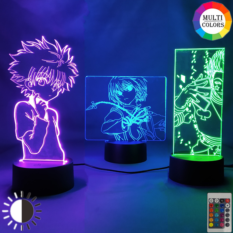 Anime Hunter x Hunter GON FREECSS Hisoka Killua Zaoldyeck Kurapika Figure Night Light Gift Home Decor Led 3d Manga Figurine Lamp LED Night Lights  - AliExpress