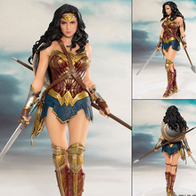 19cm DC Anime Wonder Woman Figure model 1/10 scale Pre-Painted figure collectible model toys Figure doll toy for kids gifts dc comics superhero figure artfx statue wonder woman 1 10 scale pre painted pvc action figure collectible model toys doll 18cm