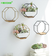 Octagon Geometric Flower Pot Metal Iron Frame Ceramic Wall Hanging Potted Plant Container Office Desktop Decoration