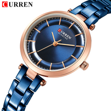купить Women Quartz Watch Business Luxury Top Brand Curren Blue Casual Stainless Steel Ladies Wrist Watch Women's Clock Reloj Mujer по цене 1116.35 рублей