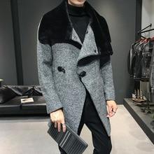 2019 Male Solid Wool Blend Mid Long Jacket Winter Woolen Coa