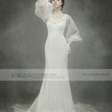 2018 fashion bride long vestidos formal high neck long sleeve bridal gown flower