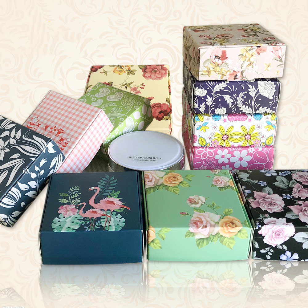 30pcs Printed Flower Paper Box Jewelry Gift Box Wedding Favors Candy Box Soap Packaging Boxes