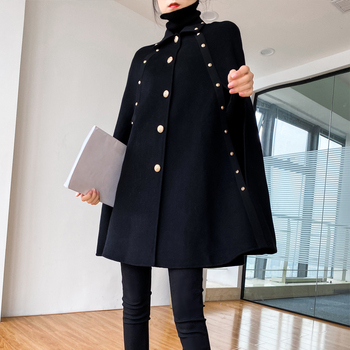 2021 Autumn Winter New Elegant Black Cape Woolen Coat WomenWarm Mid-length Loose Shawl Vintage Cloak Christmas Wool Coats black chiffon loose bat sleeves cape shawl top