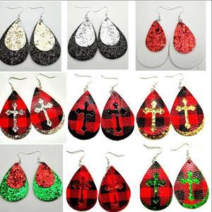 Image 5 - 30pairs lot wholesale Womens rough Faux Leather Teardrop Dangle Pierced Earrings