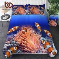 BeddingOutlet Clownfish Bedding Set 3D Ocean Coral Duvet Cover Marine Bed Spread 3 Pieces Blue Deep Sea Home Textiles Dropship