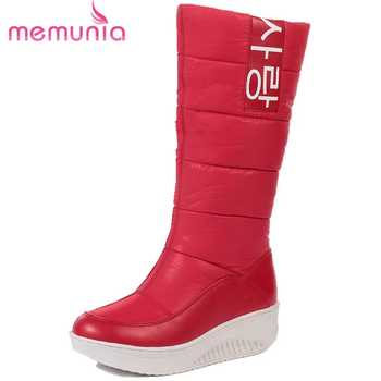MEMUNIA SIZE 35-44 Ladies snow boots wedges heels slip on women winter boots fur inside mid calf boots female sweet cotton shoes - DISCOUNT ITEM  48% OFF All Category