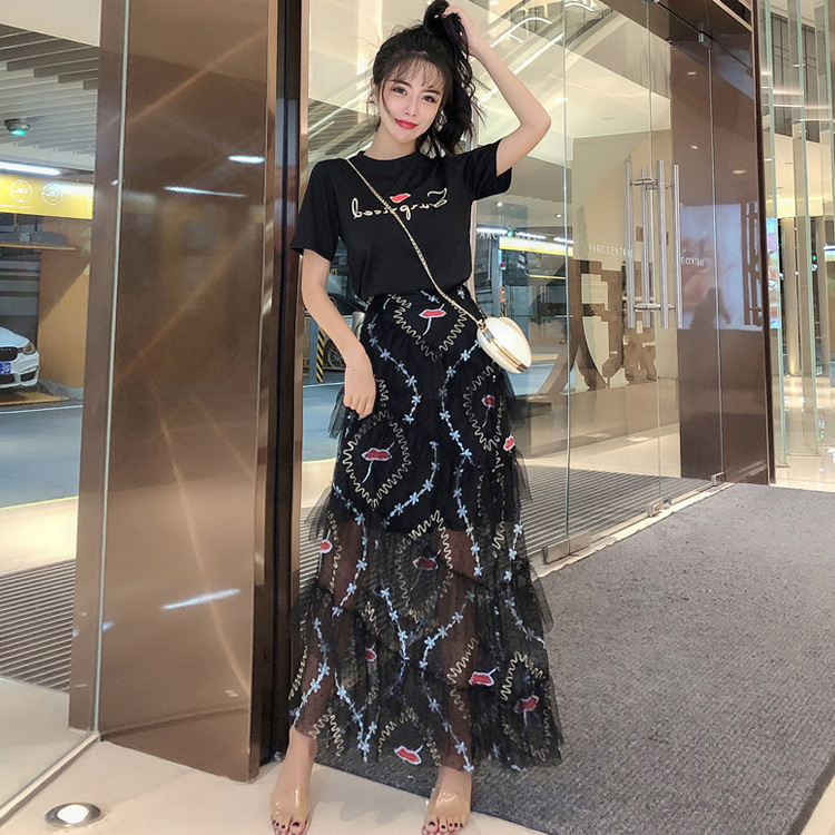 Online Celebrity Dress Outfit 2019 Summer Wear New Style Short Sleeve T-shirt Slimming Elegant Two-Piece Set Very Fairy Of Gauze