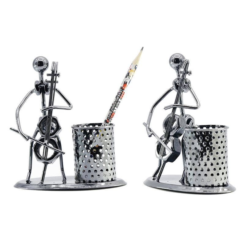 Metal Iron Music Player Musician Pen Pencil Holder Desktop Storage Organizer Brush Pot Decoration
