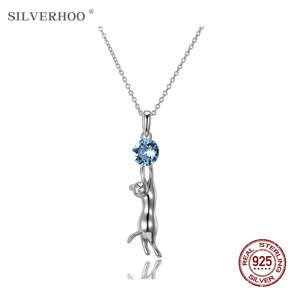 SILVERHOO 925 Sterling Silver Sexy Kitten Blue Crystal Pendant Necklace Attractive Kitty Women Chains Unique Fine Jewelry 2020