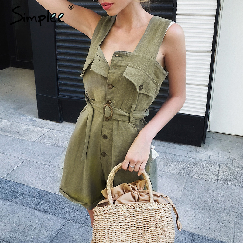 Simplee Cotton Linen Sash Belt Women Jumpsuit Romper High Waist Casual Streetwear Female Playsuit Sexy Office Ladies Playsuits