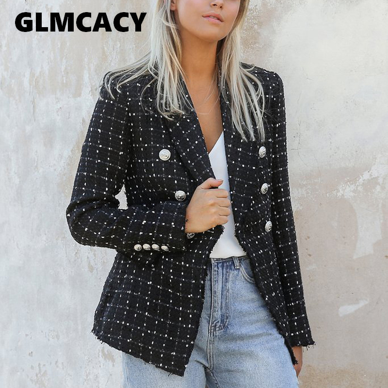 Women Vintage Polka Dot Tweed Blazers Sport Coat Office Ladies Work Outerwear Casual Casaco Femme Casual Streetwear