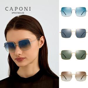 Image 4 - CAPONI lunettes de soleil carrées polarisées pour femmes, nouvelle marque Design, cadre métallique, grande monture, verres dégradés, Oculos CP1971, 2020
