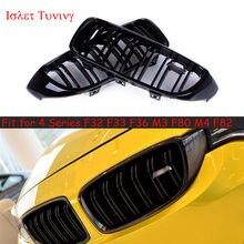 2-ярусная Черная решетка радиатора F32 для BMW 4 серии F33 F36 M3 F80 M4 F82 F83, сменные сетчатые решетки для переднего бампера 2014 +