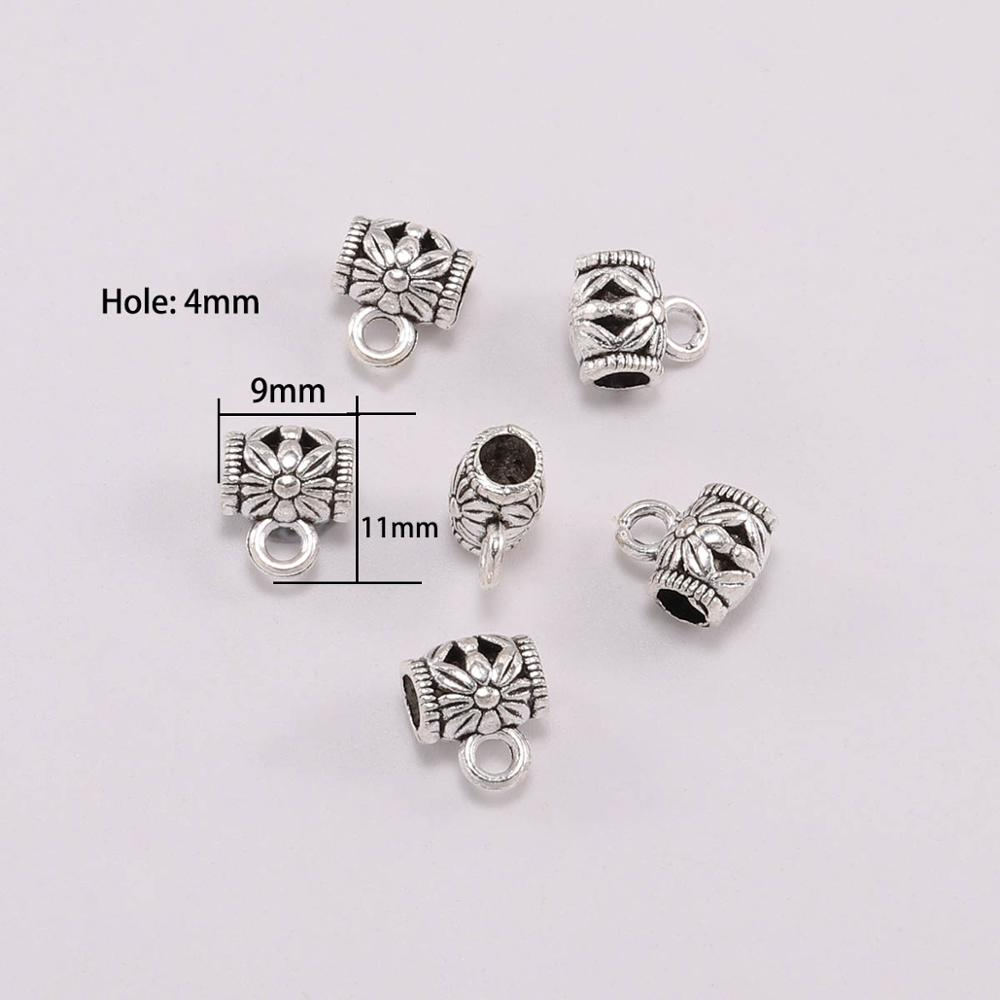 Pendant Clasp Connector DIY Jewelry necklace Antique Silver Clip Bail Beads
