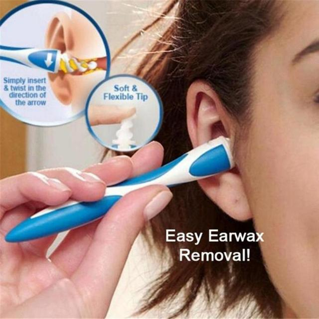 Soft Flexible Ear Cleaning Cleaner Tool Spiral Ear Wax Cleaner Removal Swabs Pick Remover Ear Care Tool with 16 Heads Tool Kit 1