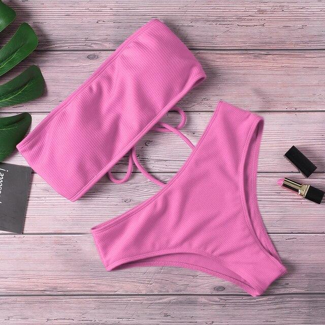 2020 New Bikini Women Swimwear High Waist Strapless Sexy Bikini Pure Color Women Swimsuit Padded Bathing Suit Monokin 2