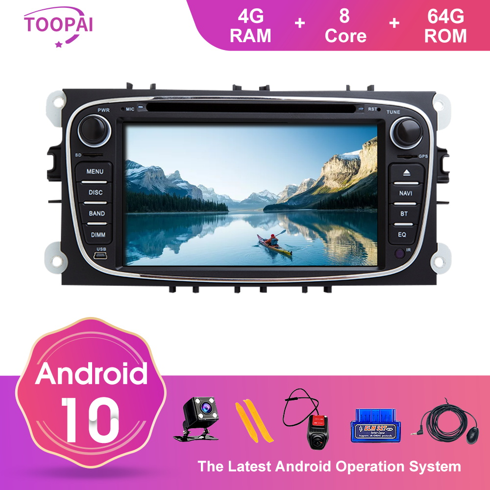 TOOPAI Android 10 For For Ford Focus 2 S-Max C-Max Mondeo 4 Galaxy Kuga 2008-2011 Car Multimedia Player GPS Navigation Radio