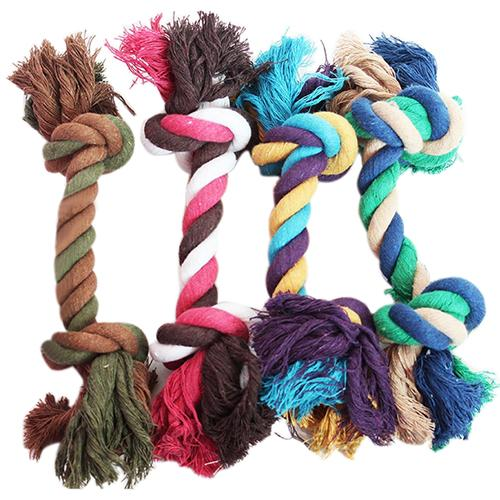 Hot Sale Dog Toys Puppy Cotton Braided Bone Rope Clean Molar Chew Play Toy Dog Supplies Pet Products