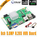 9ch*5.0MP/8ch*1080P H.265/H.264 NVR Network Vidoe Recorder DVR Board IP Camera with SATA Line ONVIF CMS XMEYE 3.5mm Audio output