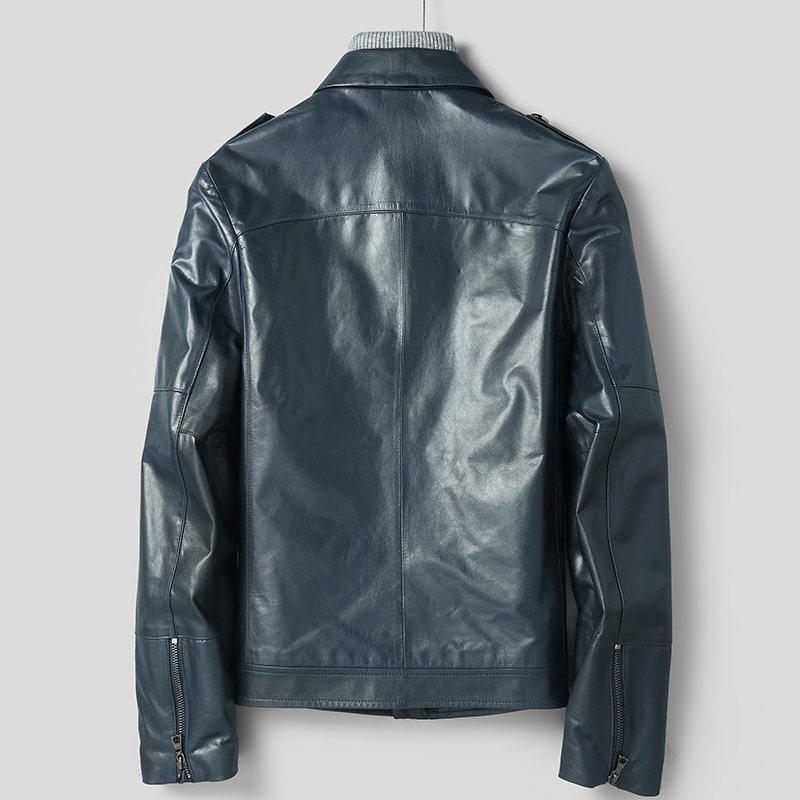 Men's Leather Jacket Real Goatskin Coat Genuine Leather Jacket Men Short Motorcycle Coats Veste Cuir Homme 18016 KJ2108