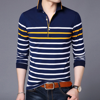 Polo Shirts Men Long Sleeve Casual Striped Design Luxury Brand Cotton Spring Autumn Fall Fashion Slim Fit Plus Size Tees Clothes