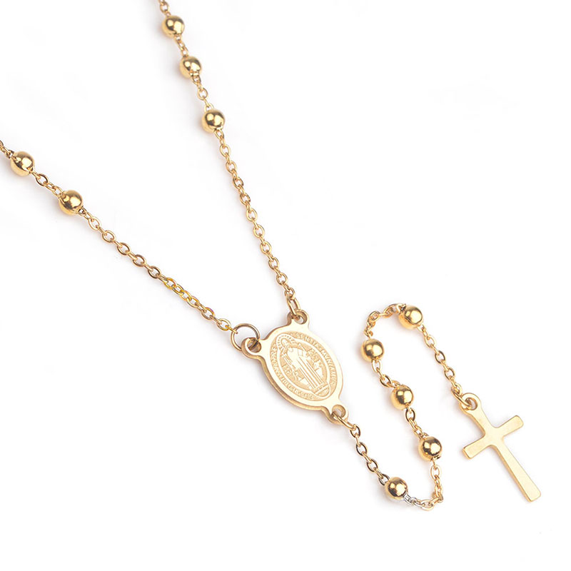 WENDYFO New Fashion Gold Color Cross Necklace Pendants For Women Stainless Steel Prayers Chain Necklace Rosary Jewelry Gift