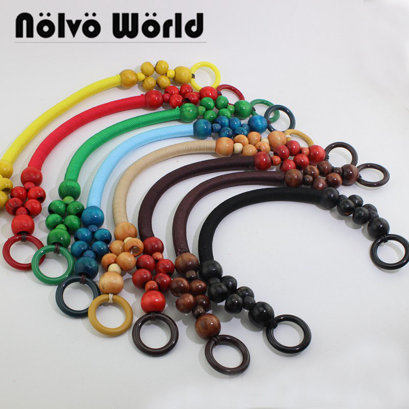 5 Pairs=10 Pieces 8 Colors,Accept Mixed Colors,51cm Long Wood Beads Rope Handles For Handmade Bags,Charming Bead Rope Bag Handle