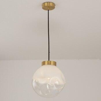 Nordic gradient white glass ball single head pendant lamp simple bump design brass decorative LED lighting bedside hanging lamp