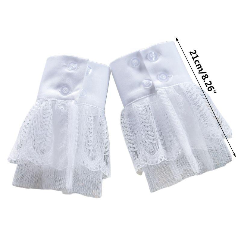 2pcs/pair Women Girl Fake Cuff Crotchet Floral Lace Hollow Out Wrist Decor LX9E