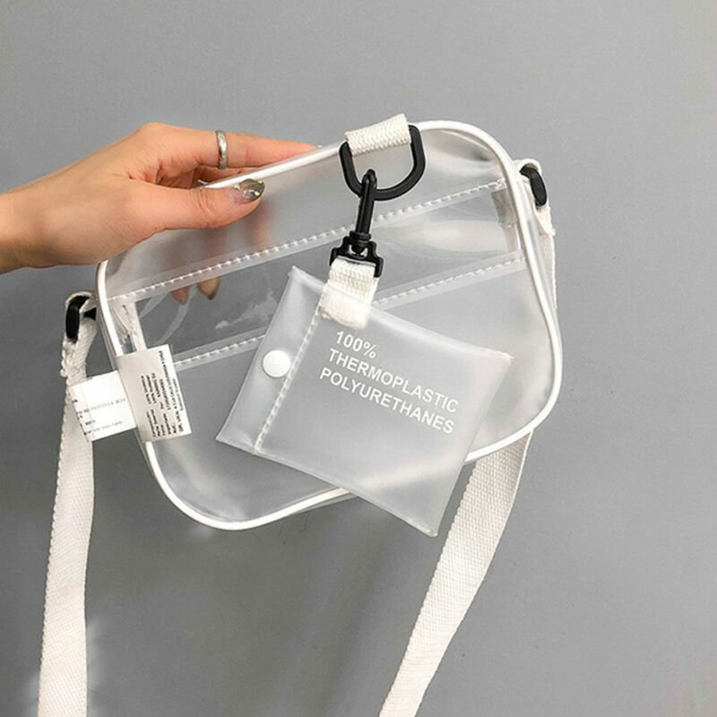 PVC Transparent Clear Woman Crossbody Bags Shoulder Bag Handbag Jelly Small Phone Bags With Card Holder Wide Straps Waist Packs