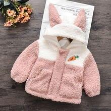 Куртка с капюшоном для девочек пальто из овечьей шерсти детей;