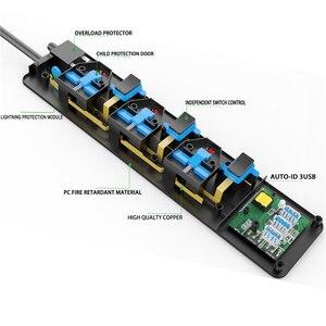 Image 2 - רשת מסנן 2500W 13A כוח רצועת עצמאי מתג בריטניה תקע שקע 2M הארכת כבל Surge מגן 3 שקע 3 USB טעינה