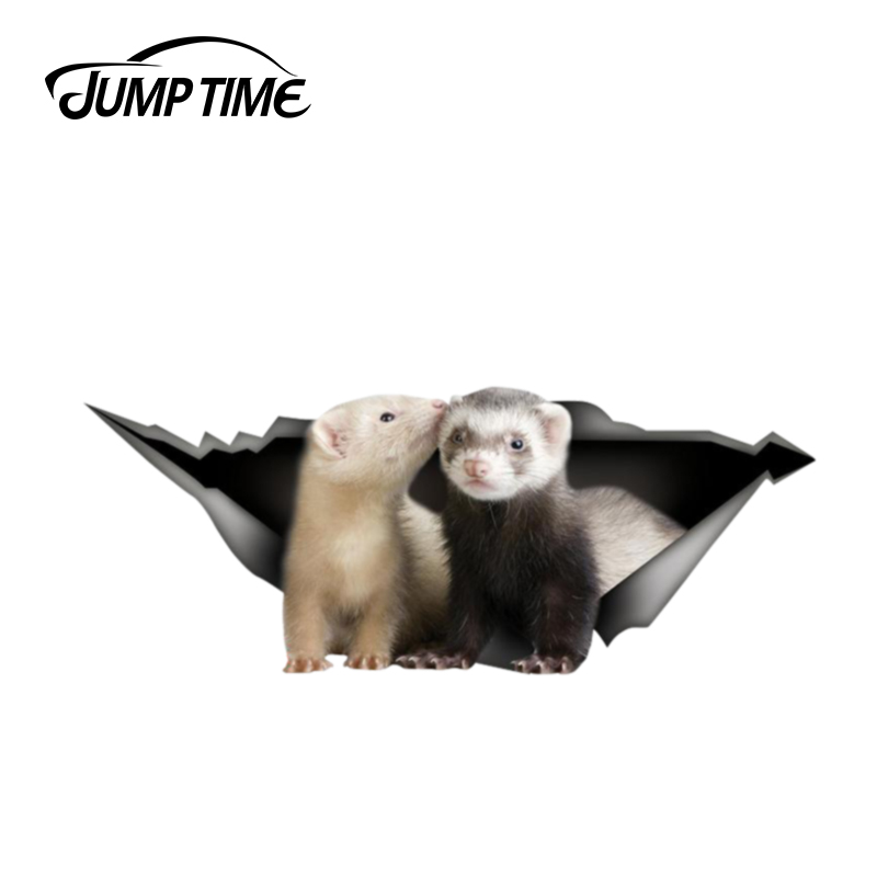 Jump Time 13cm X 4.8cm Ferret Sticker Laptop Decal 3D Pet Graphic Vinyl Decal Car Window Laptop Bumper Animal Car Stickers