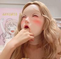 (CDFM 3))Handmade Female/Girl Resin And Latex Hood Full Head Cartoon Character Cosplay Kigurumi Mask Crossdress Mask Open Mouth