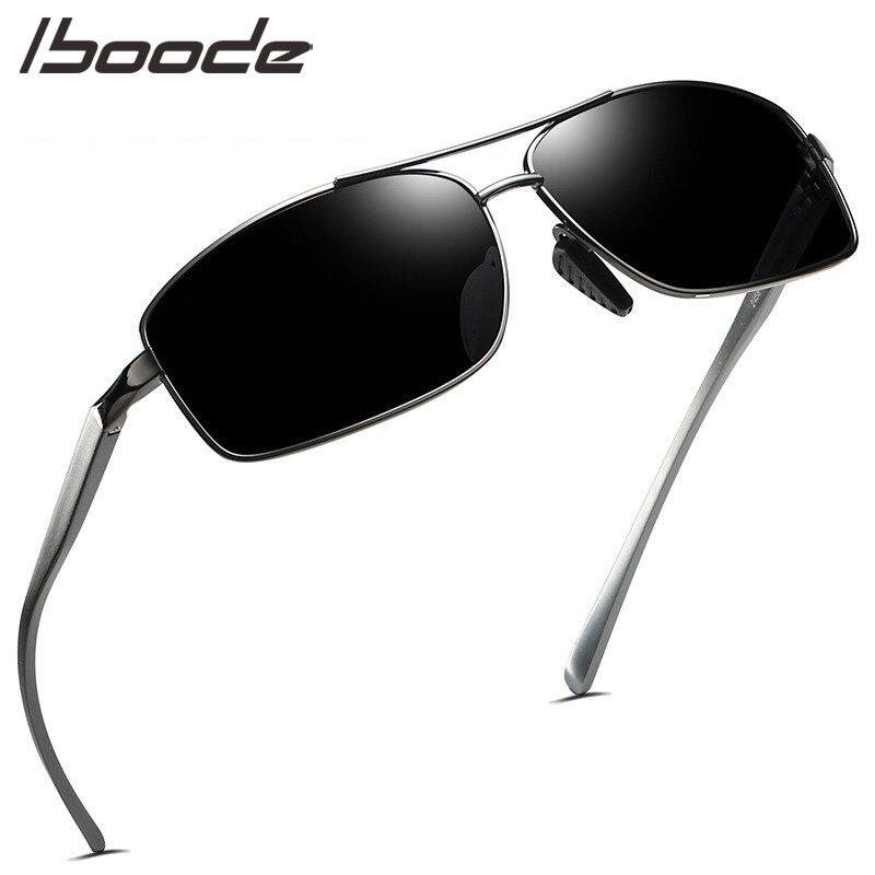 Iboode polarizado óculos de sol dos homens das mulheres do vintage quadrado metal condução anti uv máscaras óculos de sol design da marca luxo gafas de sol