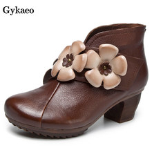 Gykaeo Genuine Leather Winter Boots Women Shoes Woman Vintage Floral Ankle Boots For Women Flower High Heels Zipper Botas Mujer(China)