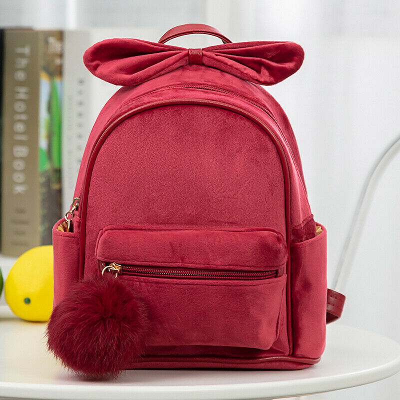 Kids Girls Backpacks For Kindergarten Schoolbag Baby Girls Backpacks Cartoon Bowknot Shoulder Bags Plush Ball Bags For Girl 2020