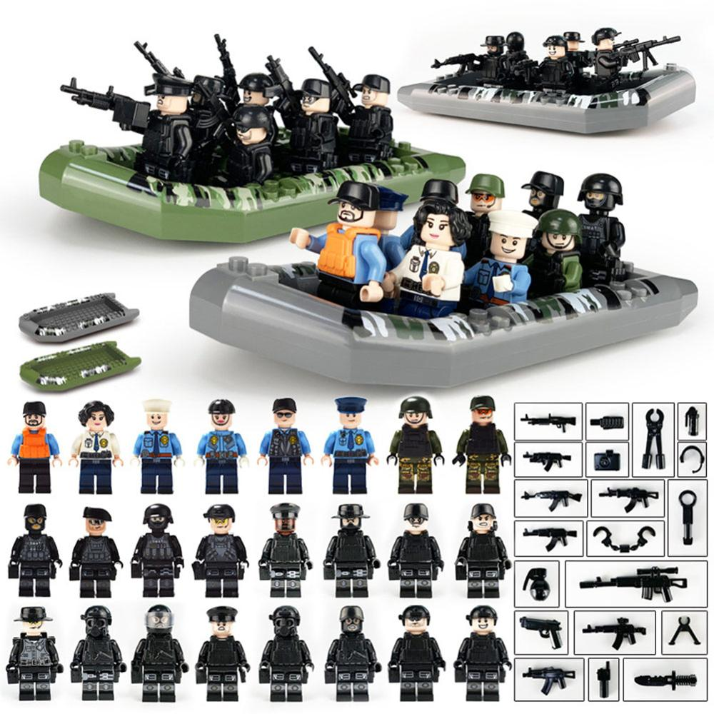 Legoing Weapon Military Special Forces Soldier SWAT Police Bricks Figures Guns Compatible Legoings Armed Building Blocks Kid Toy