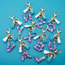 Fashion Tassel Keychains for Keys Women Jewelry A-Z Letters Initial Resin Handbag Pendant Cute Keychain Accessories