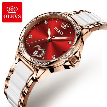 OLEVS Women's Automatic Watch Ceramic Steel Strap Waterproof Mechanical Watches Brand Luxury Ladies Wrist Watch Relogio Feminino 1