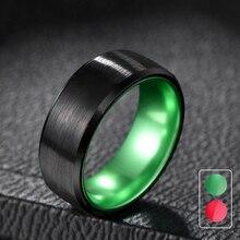 Tigrade Men Fashion Ring Tungsten Carbide Black Finger Band for Wedding Green/red inside 8mm Custom anillo hombre anel masculino