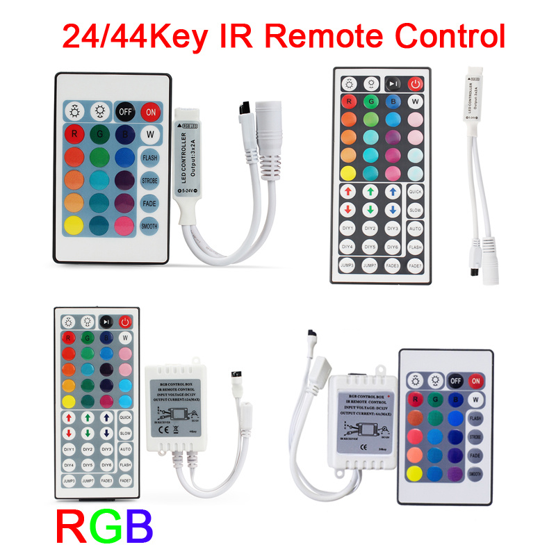 DC 12V 24V RGB Led Controller 24 Key 44 Key LED IR Remote Control For Led Strip 5050 2835 3528 5630